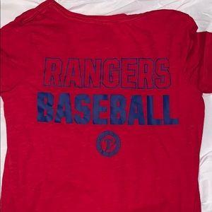PINK Texas Rangers Baseball v neck t shirt